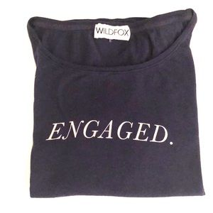 "WILDFOX navy scoop neck t-shirt ""engaged."""